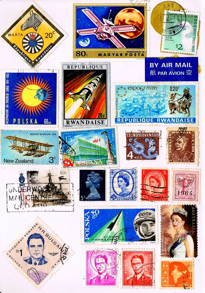 Stamp Collection Google image from 203516358_bc6cabb3e2_b.jpg https://www.flickr.com/photos/savvysmilinginlove/6203516358/