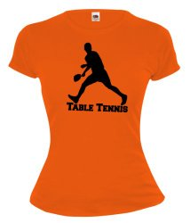 Girlie T-Shirt Table Tennis-XS-Orange-White