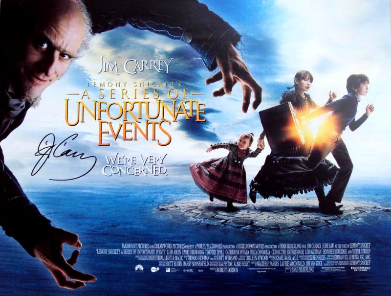 Lemony Snicket's A Series of Unfortunate Events (2004) Movie Poster Google image from http://www.southernswords.co.uk/jim-carrey-signed-movie-poster---lemony-snickets-5638-p.asp