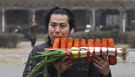 Musical Instrument Made of Vegetables Google image from http://english.sina.com/life/p/2012/0301/445043.html