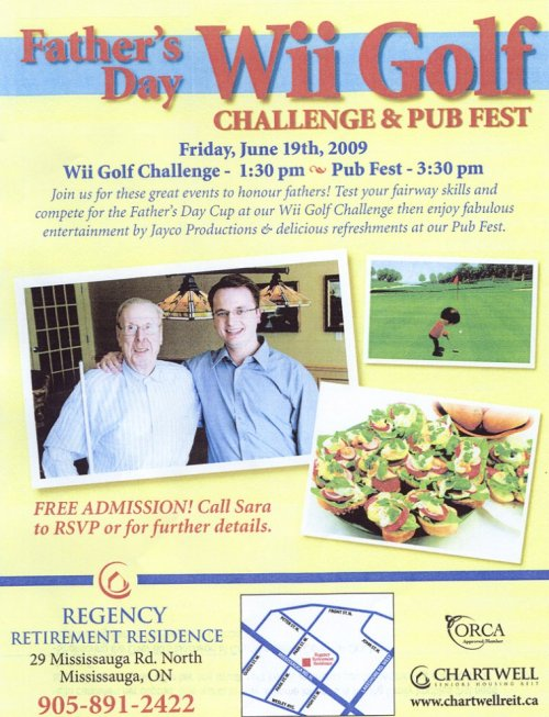 Regency Retirement Residence, Father's Day Wii Golf Challenge & Pub Fest Poster at Older Adult Centre