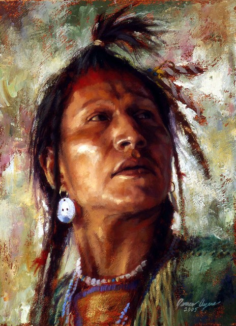 Woodland Native - Always Watchful Crow Indian painting by James Ayers image 2005-ALWAYES-WATCHFUL-CROW-OIL-ON-CANVAS-2005-12X9__35795.1422386528.1280.1280.jpg from http://www.jamesayers.com/always-watchful-crow/